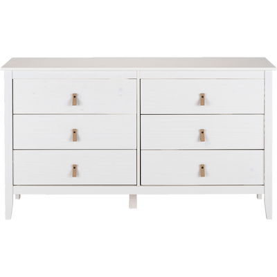 Commode 2X3 tiroirs pin massif blanc-LISON