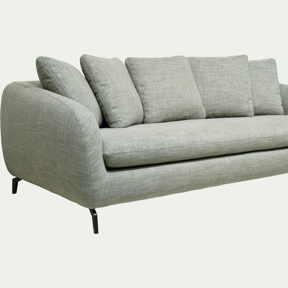 Canapé fixe 4 places en tissu piétement noir - vert cèdre-COLINE