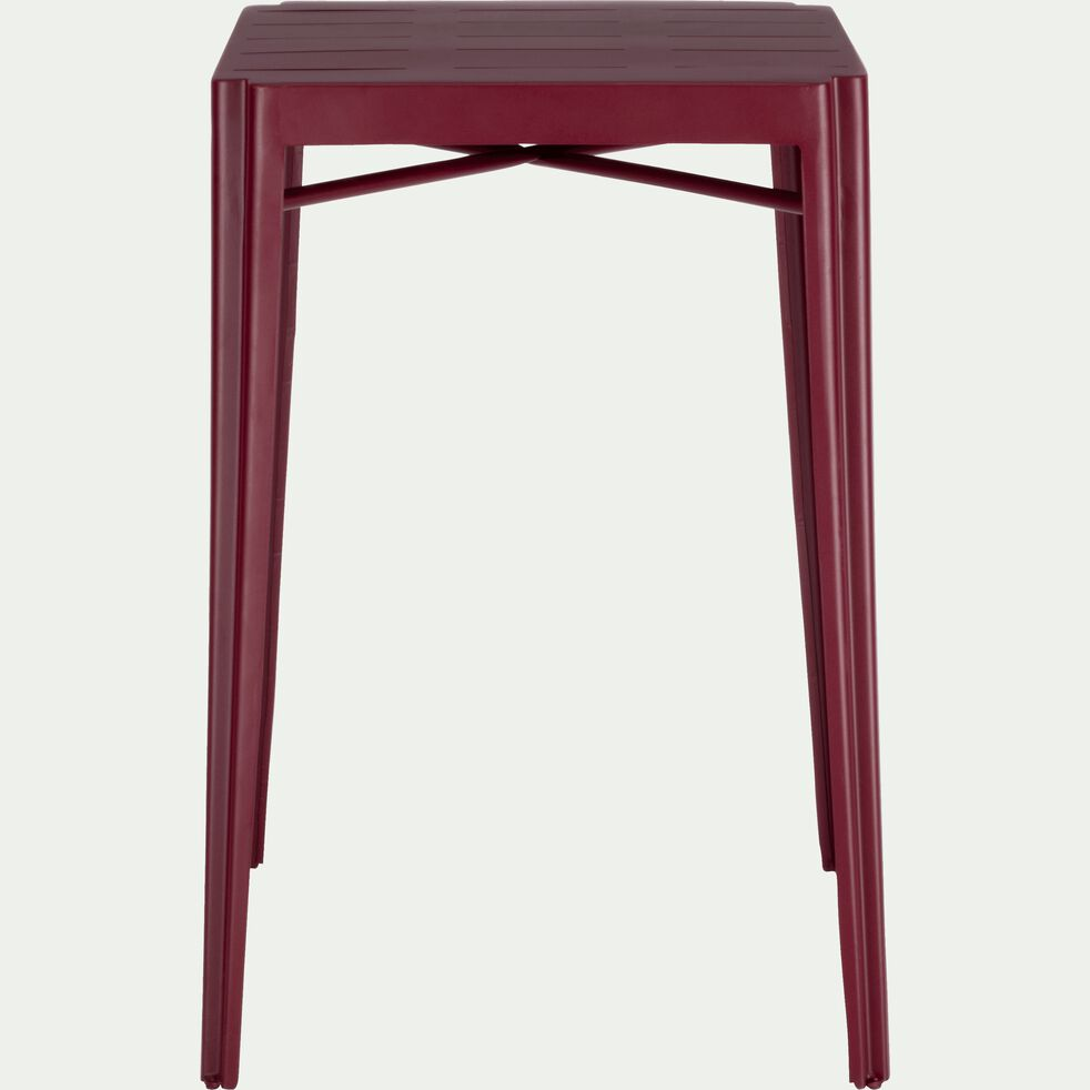 Table haute carrée en métal rouge sumac-TRIVIA