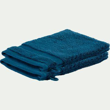 Lot de 2 gants de toilette en coton - bleu figuerolles-Rania