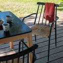 Chaise de jardin en aluminium avec accoudoirs noir et résine-IDA