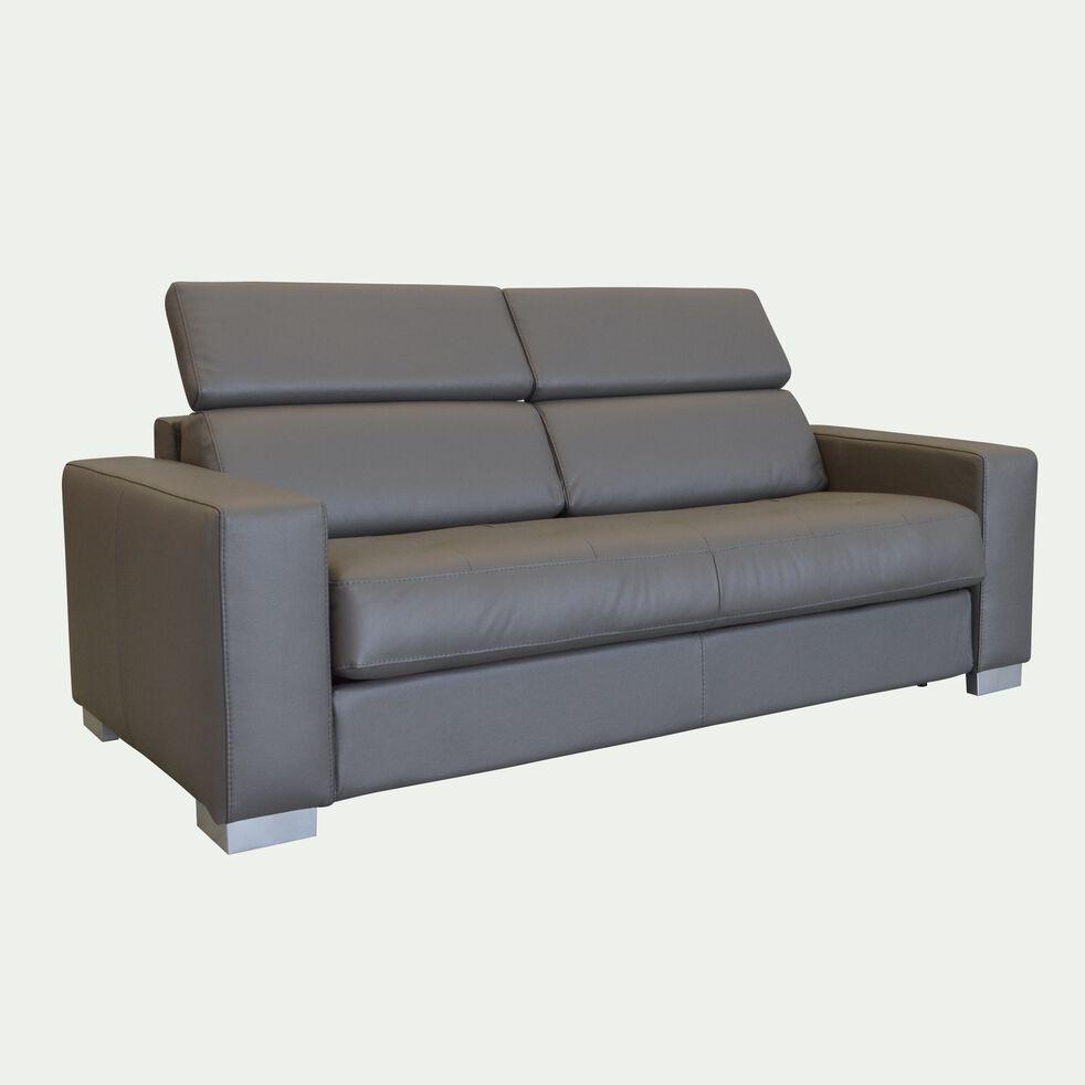 Canapé 3 places fixe en cuir de buffle taupe foncé-Mauro