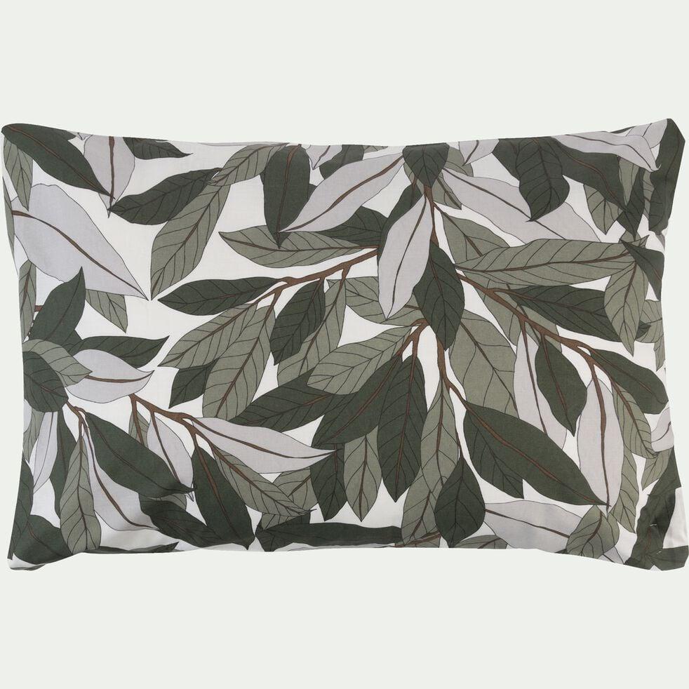 Lot de 2 taies d'oreiller en coton motif Laurier - vert 50x70cm-SARA