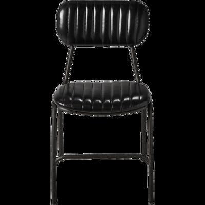 Chaise vintage matelassée en simili noir-MELCHIOR