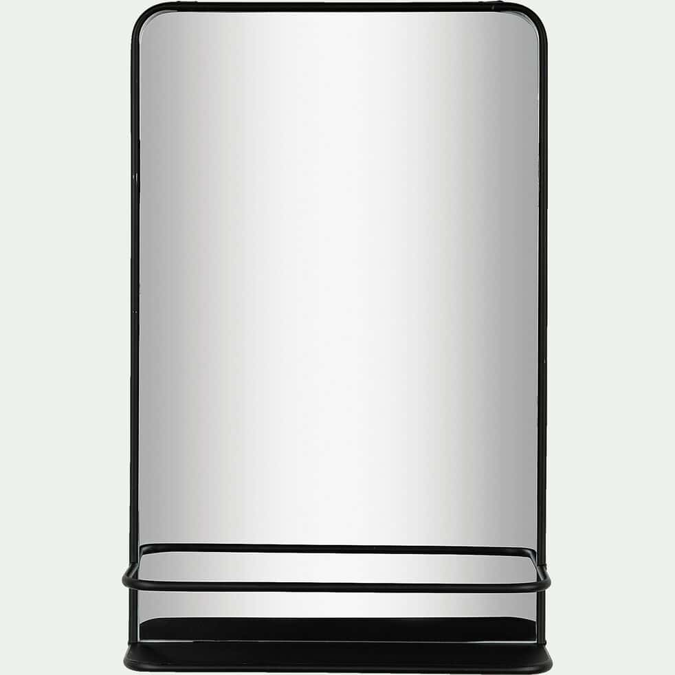 Miroir mural en métal avec tablette - noir 38x60cm-FIRADI