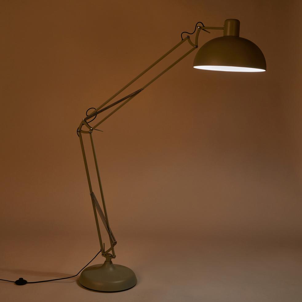 Lampadaire en métal vert olivier H178cm-XXL