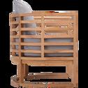 Fauteuil en teck massif et coussins gris-ANCONA
