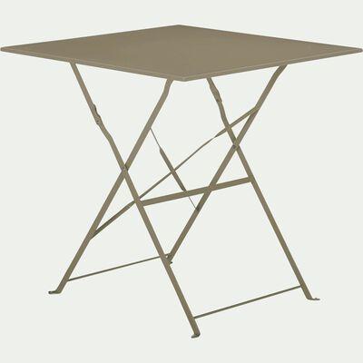 Ensemble table carré (2 places) et chaise de jardin pliante en acier - plusieurs coloris-CERVIONE