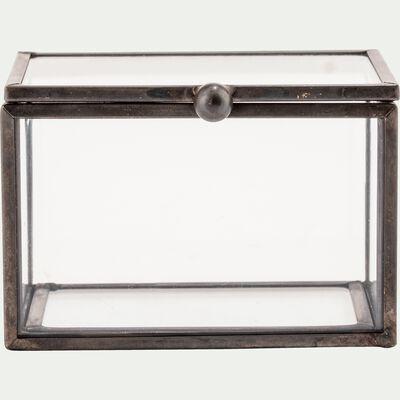 Boîte décorative en verre noire 8X6X5cm-ASTER