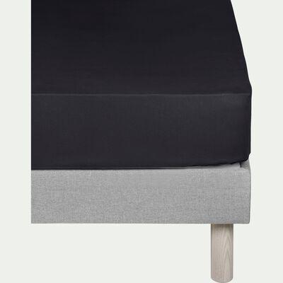 Drap housse en coton Gris calabrun 160x200cm -bonnet 25cm-CALANQUES