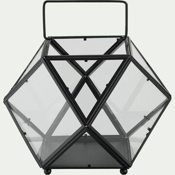 Lanterne graphique en verre - noir D30xH24cm-ALBITRECCIA
