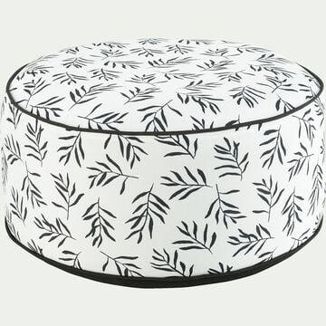 Pouf de jardin en tissu motif Aloyse - blanc D53cm-Caprice