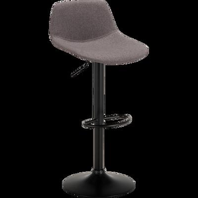 Chaise de bar pivotante en tissu gris restanque - H60cm à 81cm-SENANQUE