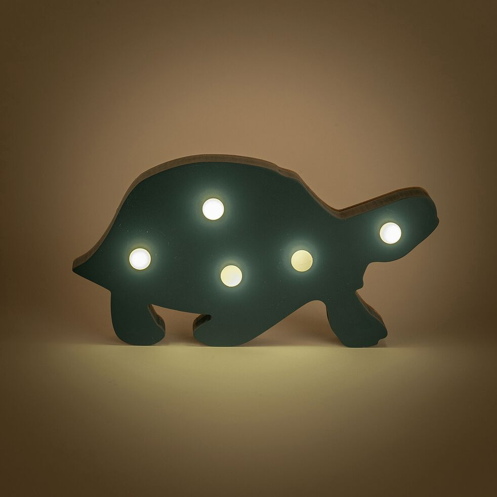 Déco lumineuse tortue en bois 5 leds non électrifié - bleu-Lusour