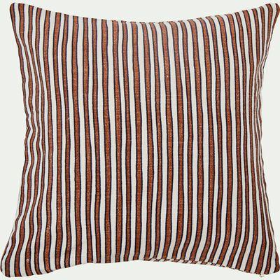 Coussin en coton imprimé rouge et écru 40x40 cm-SIDI