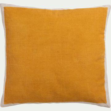 Coussin sérigraphié en lin et coton - jaune 45x45cm-OTA