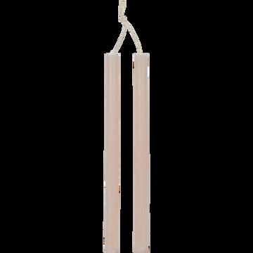 Bougie duo de flambeau rose sable H30cm-BEJAIA