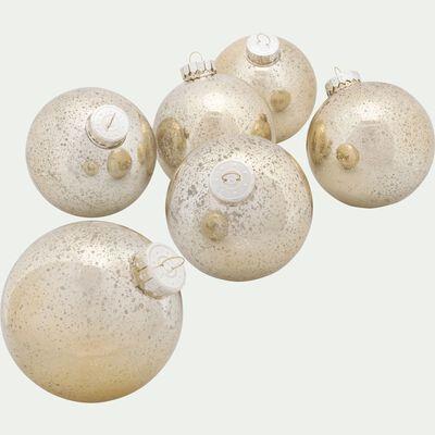 6 boules en plastique doré D10cm-TRISTAN