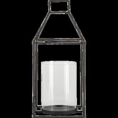 Lanterne en verre et métal noir H42x19cm-FLORENCE