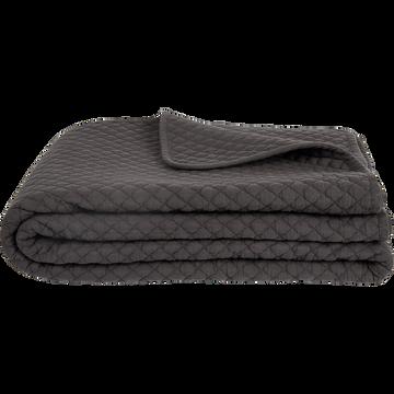 Plaid matelassé en coton gris 130x170cm-LIV