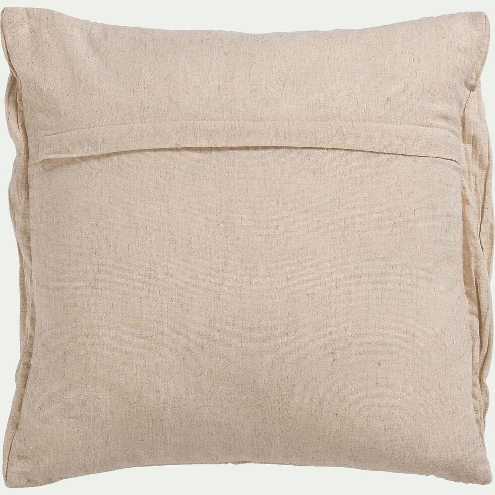 Coussin froissé en coton et lin - écru 40x40cm-ALEY