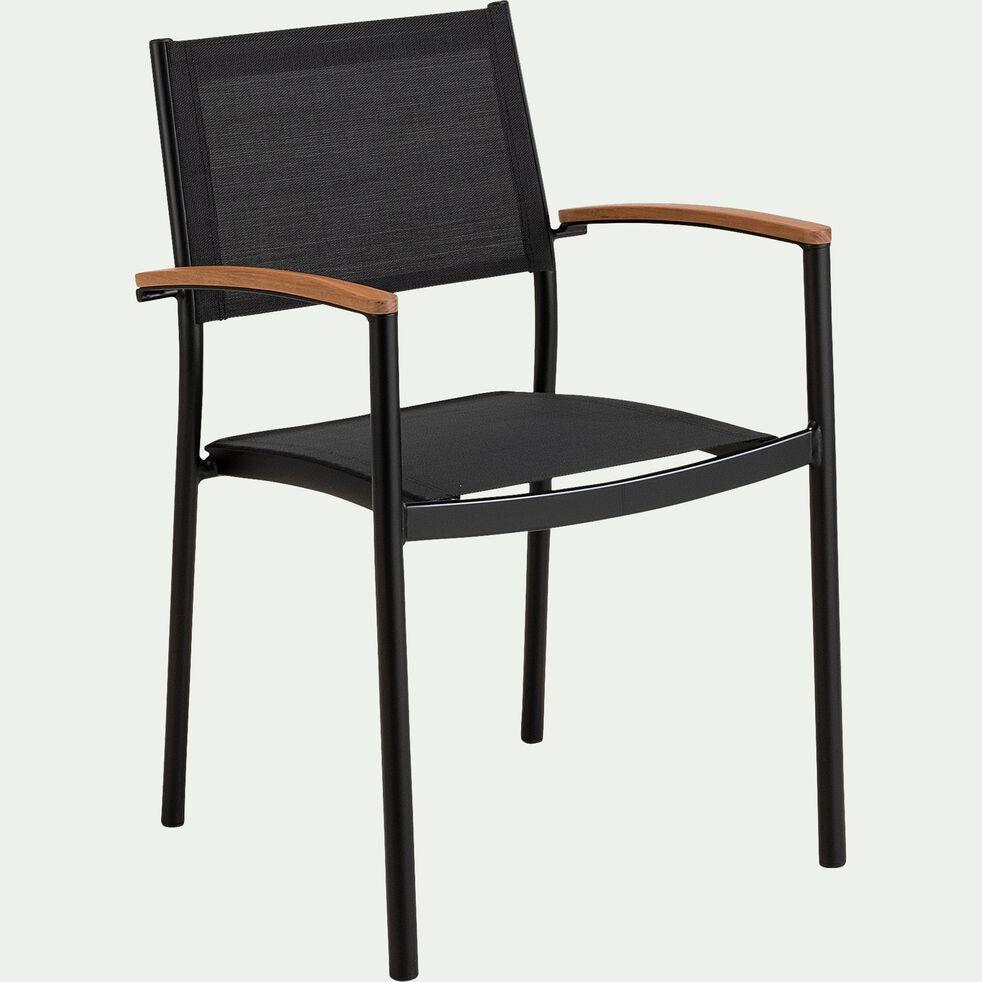 Chaise de jardin empilable en aluminium et plastique avec accoudoirs - noir-TANOS