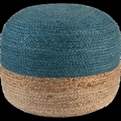 Pouf en jute coloris naturel et bleu myrte 50x50x40cm-NAIA