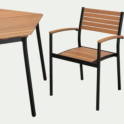 Table hexagonale de jardin en aluminium et eucalyptus (4 à 6 places)-TANOS