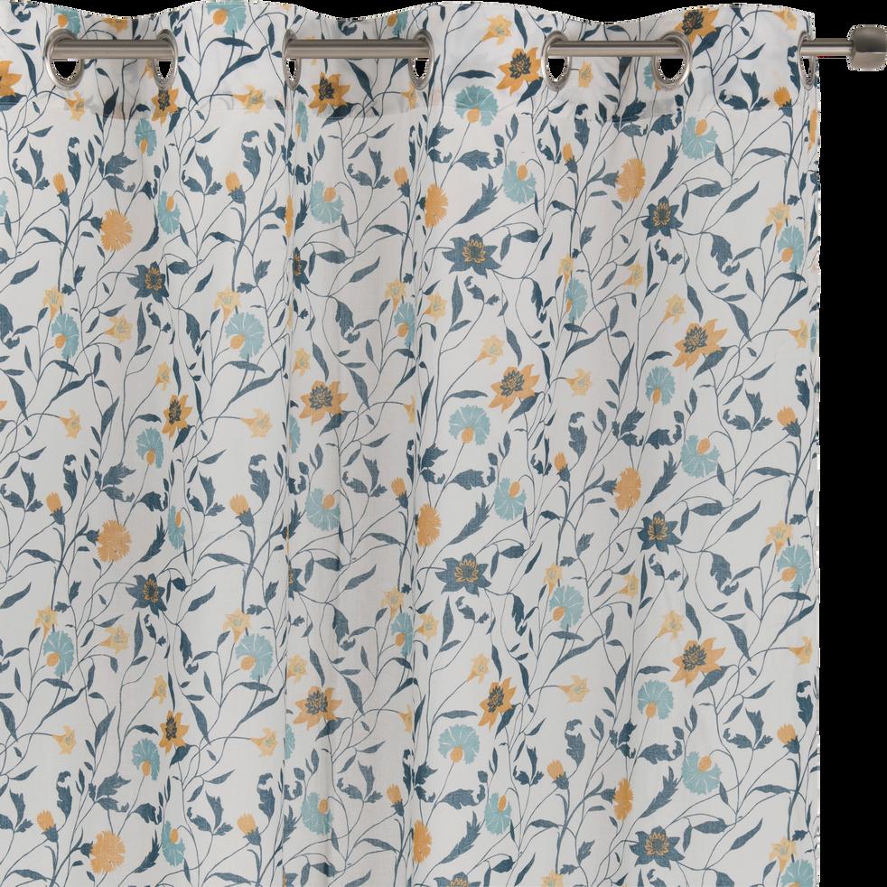 Voilage à oeillets en coton motif floral blanc 140x250cm-ASMARA