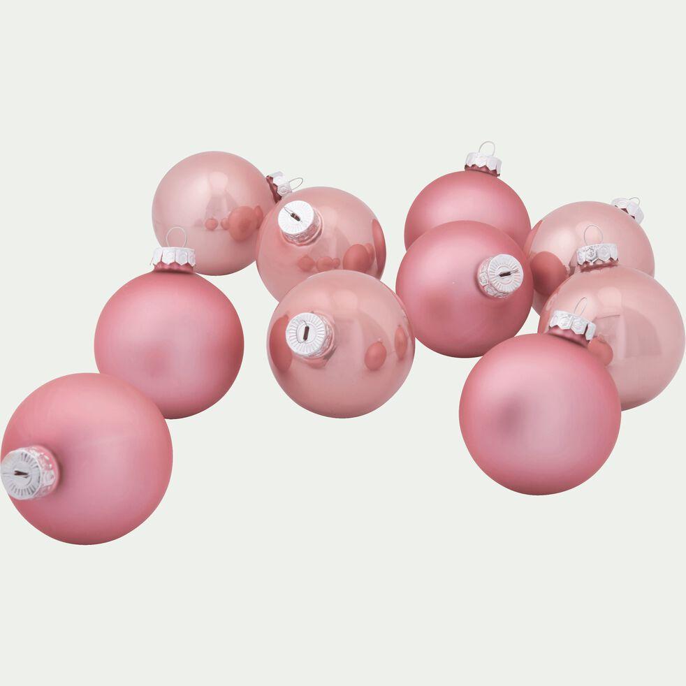10 boules de Noël en verre rose D6cm-BOCCA