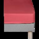 Drap housse en coton Rouge arbouse 160X200cm- bonnet 25cm-CALANQUES