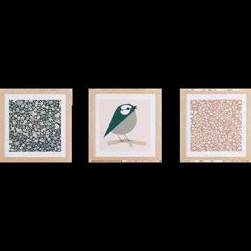 Set de 3 images imprimées sur bois avec encadrement-SYLVA