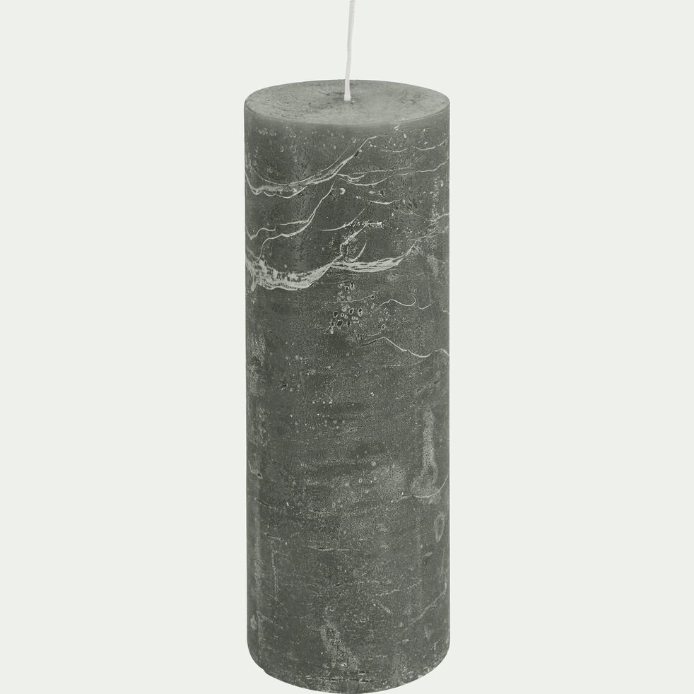 Bougie cylindrique - vert cèdre H15cm-BEJAIA
