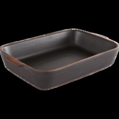 Plat à four noir en grès 41x25cm-DARKSTONE