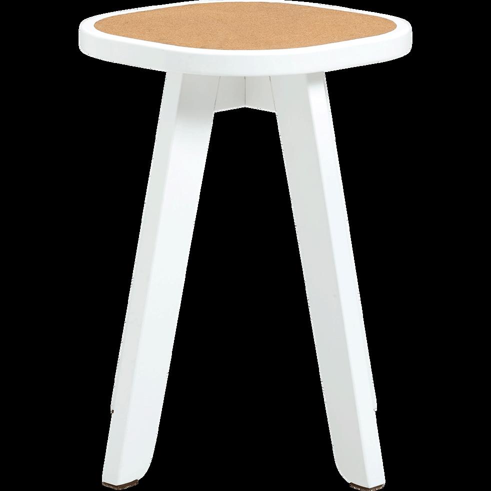 Tabouret blanc assise en liège - H45cm-LEAF