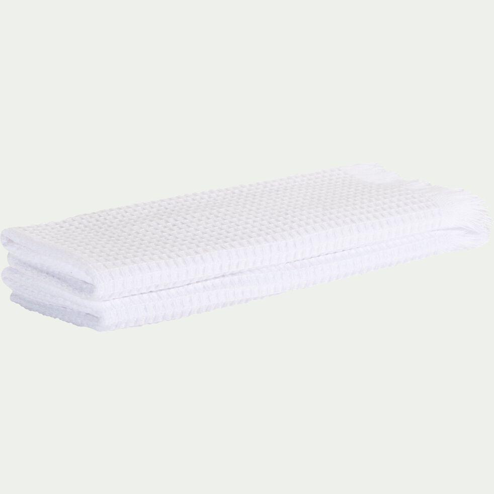 Lot de deux serviettes invité en coton nid d'abeille - blanc optique 30x50cm-Ricin