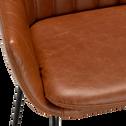 Chaise haute en cuir marron-OLBIA