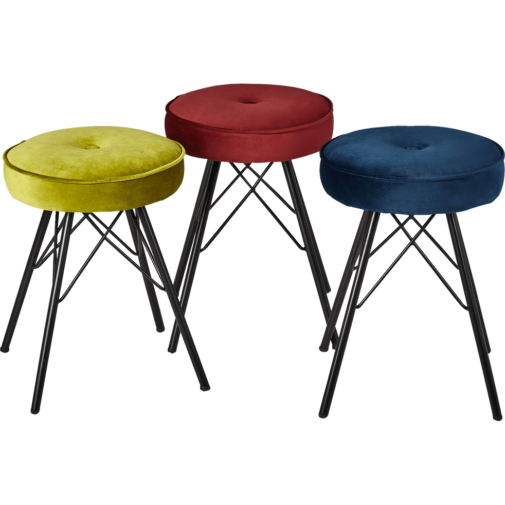 tabouret en velours rouge sumac h45cm faustine tabourets et bancs alinea. Black Bedroom Furniture Sets. Home Design Ideas