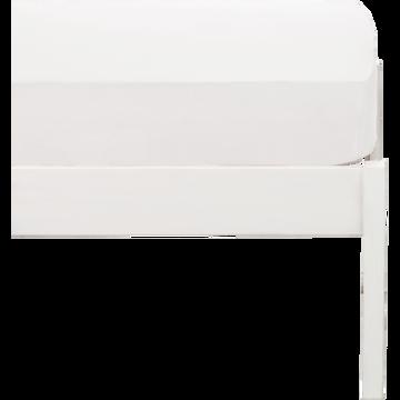 drap housse en coton lavé blanc 90x170 cm-CALANQUES