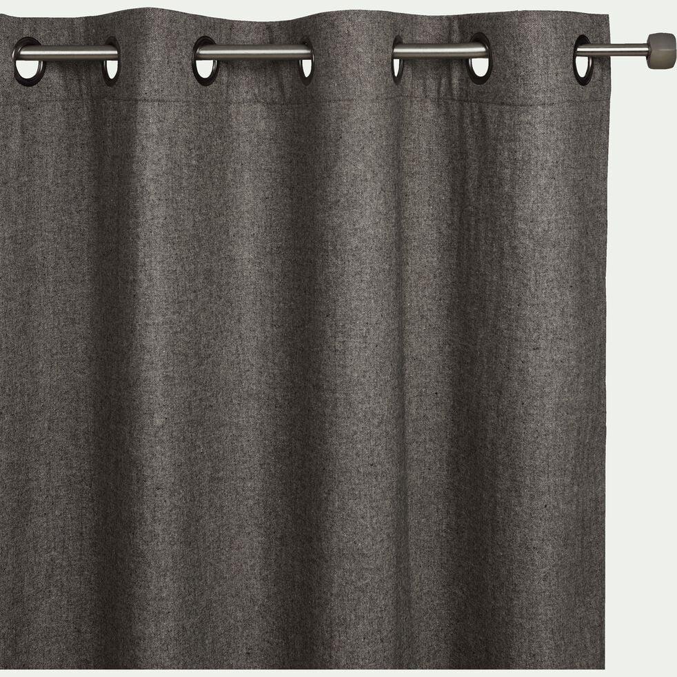 Rideau à œillets en polyester chambray - gris 140x250cm-CORBIN