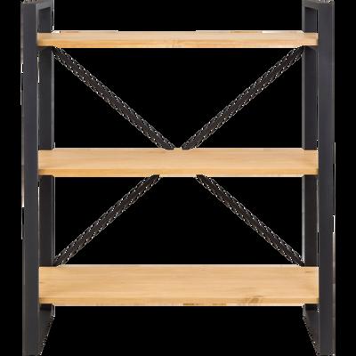 Étagère 3 tablettes en métal noir et pin massif h102cm-ENDOUME