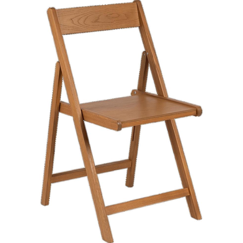 Chaise pliante en bois plaqué naturel-JULIA