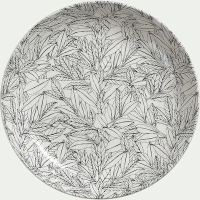 Assiette plate en porcelaine à motifs laurier - vert - D26cm-AIX