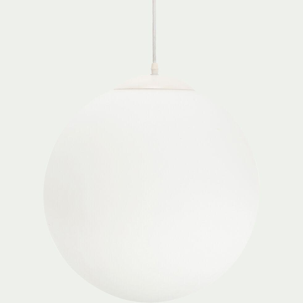 Suspension en métal et verre opaque D40xH140cm - Blanc-MARCELINO