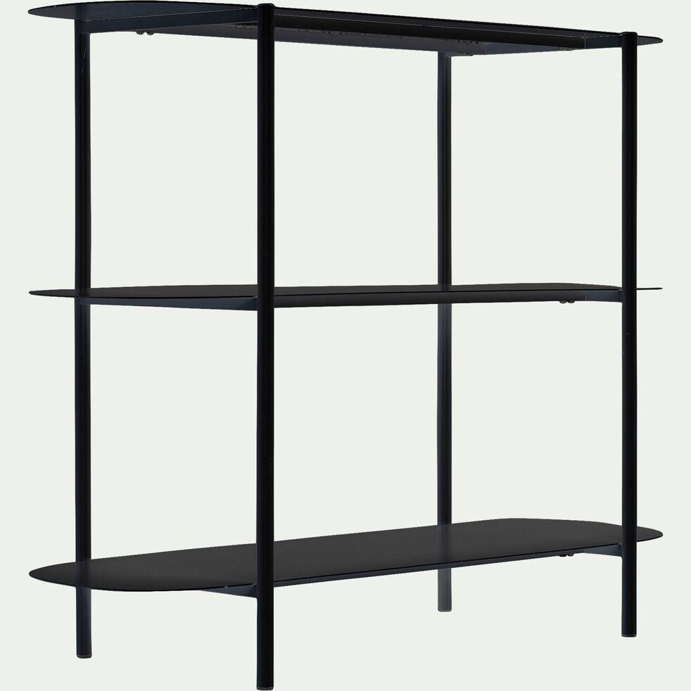 Bibliothèque 3 tablettes en métal - noir L100,50xH80cm-CAROUBE