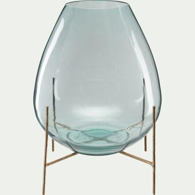 Vase en verre bleu transparent sur pied en métal H38 cm-PAOLINA