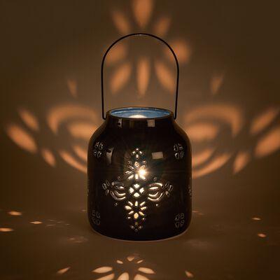 Lanterne ajourée en céramique - bleu D16,5xH19cm-MATHIS