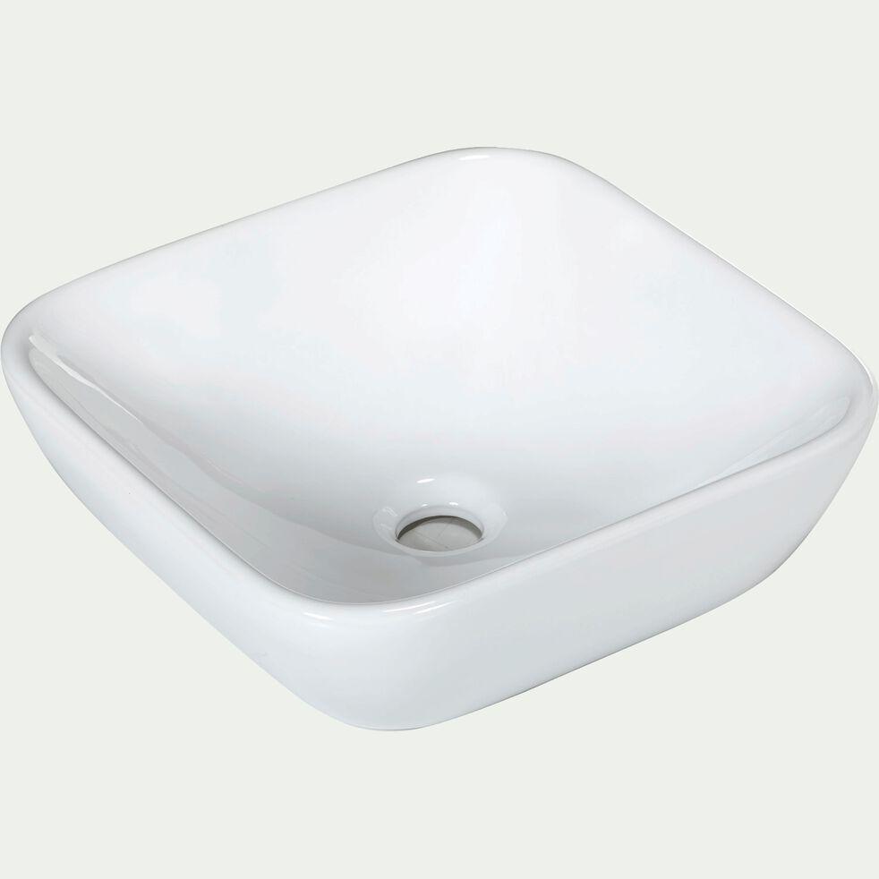Vasque carrée en céramique à poser blanche-Vasca