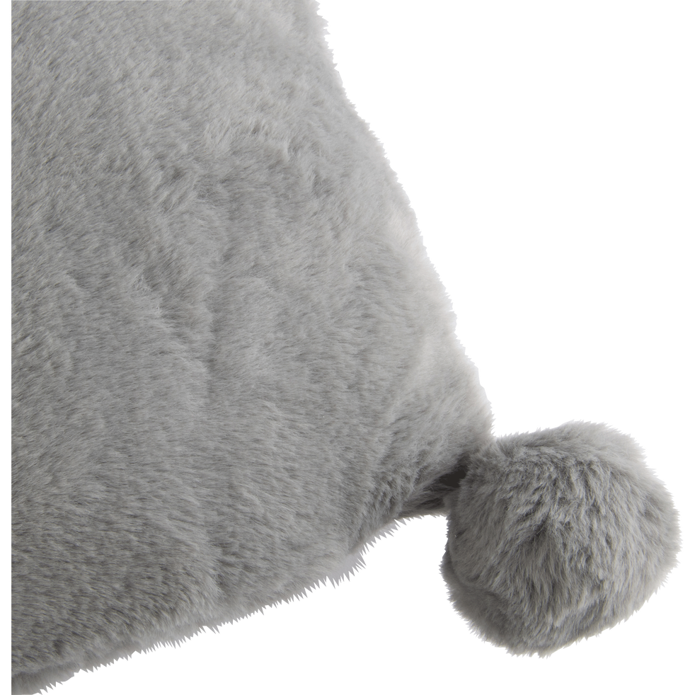 Coussin 30X50CM gris restanque à pompons pour enfant-ISABY