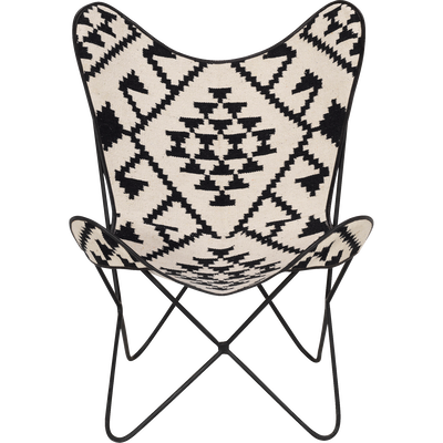 Housse de fauteuil butterfly en jute noir et blanc-BUTTERFLY